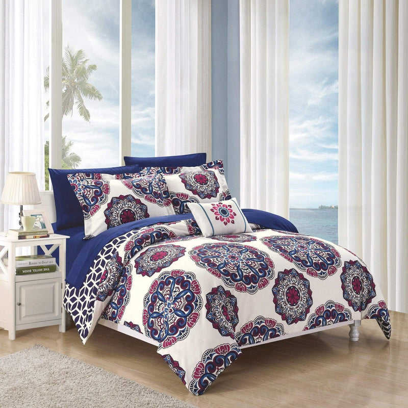 Chic Home Barcelona 8 Piece Reversible Paisley Comforter Set Boho Medallion Geometric Bed in a Bag-Navy