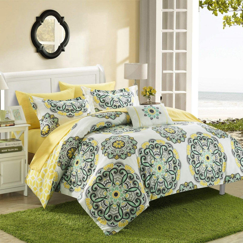 Chic Home Barcelona 8 Piece Reversible Paisley Comforter Set Boho Medallion Geometric Bed in a Bag-Yellow