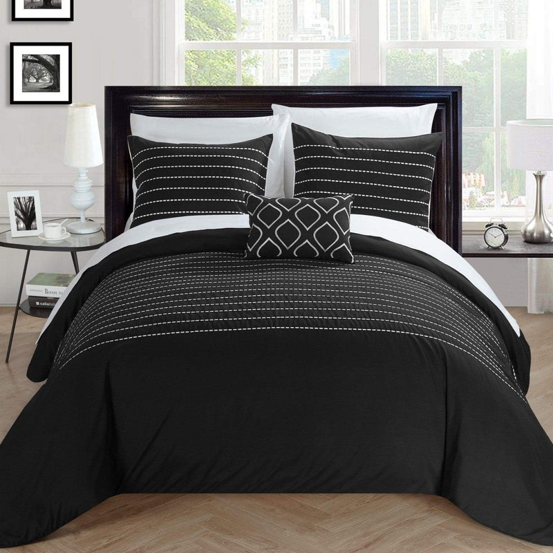 Chic Home Bea 8 Piece Embroidered Duvet Cover Set Stitched Design Bed in a Bag-Black