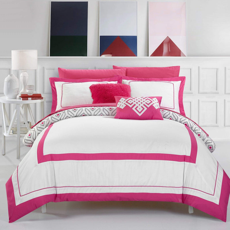 Chic Home Beckham 9 Piece Reversible Youth Comforter Set Geometric Hotel Collection Bed in a Bag-Fuchsia