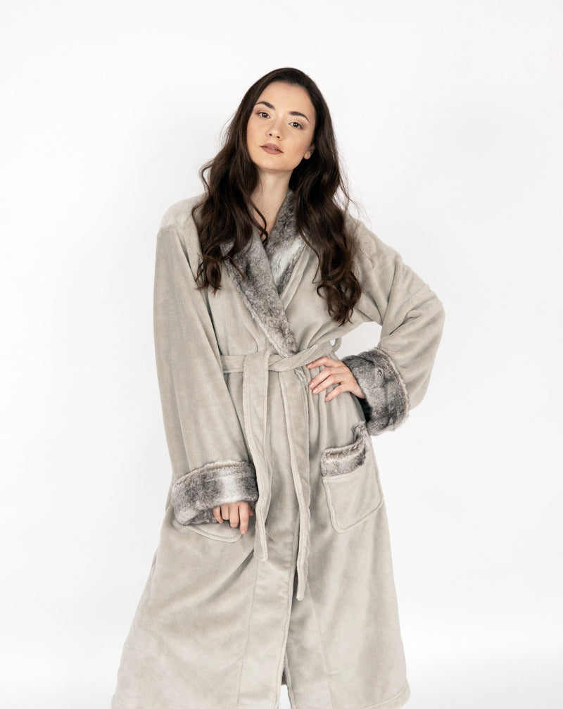 Chic Home Belgian Robe Cozy Super Soft Plush Faux Fur Fleece Sherpa Trim 2 Pockets and Belt Grey-BRB18229-CHB