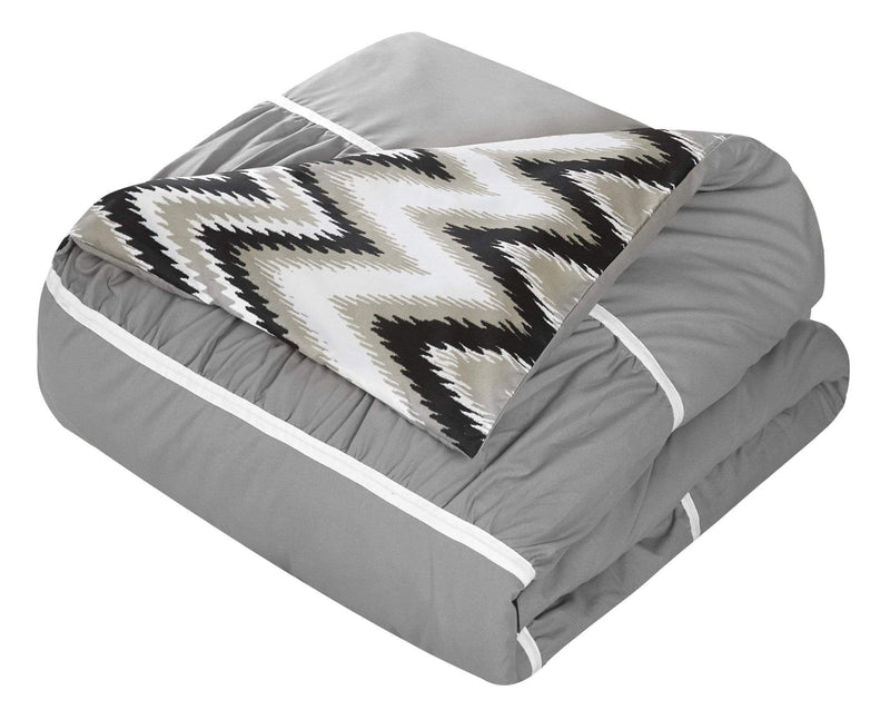 Chic Home Bella 8 Piece Reversible Comforter Set Ruffled Pleated Chevron Pattern Bed in a Bag-