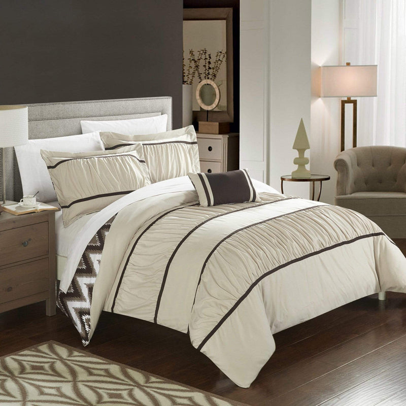 Chic Home Bella 8 Piece Reversible Comforter Set Ruffled Pleated Chevron Pattern Bed in a Bag-Beige