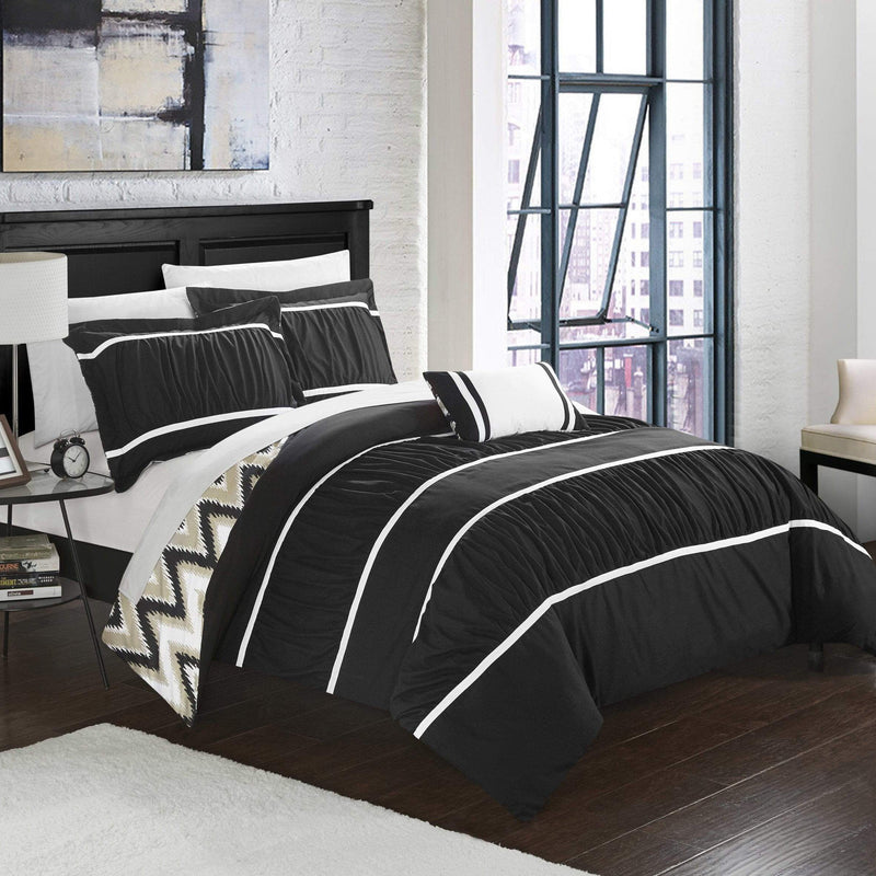 Chic Home Bella 8 Piece Reversible Comforter Set Ruffled Pleated Chevron Pattern Bed in a Bag-Black