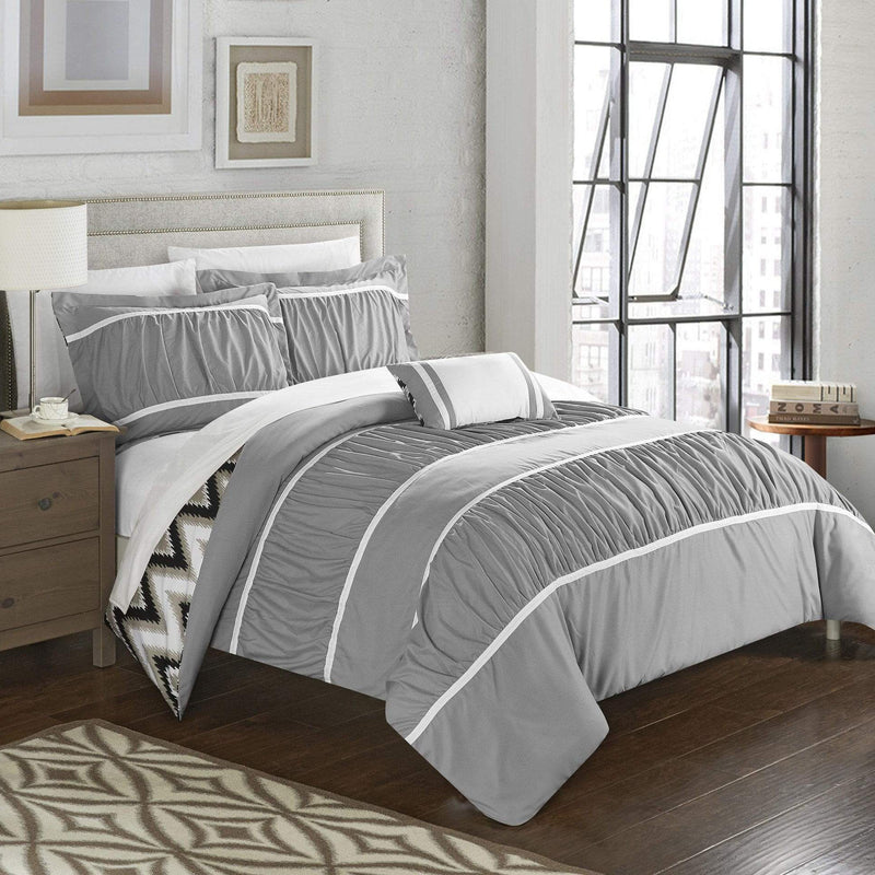 Chic Home Bella 8 Piece Reversible Comforter Set Ruffled Pleated Chevron Pattern Bed in a Bag-Grey