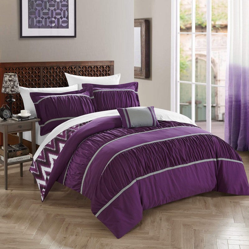 Chic Home Bella 8 Piece Reversible Comforter Set Ruffled Pleated Chevron Pattern Bed in a Bag-Purple