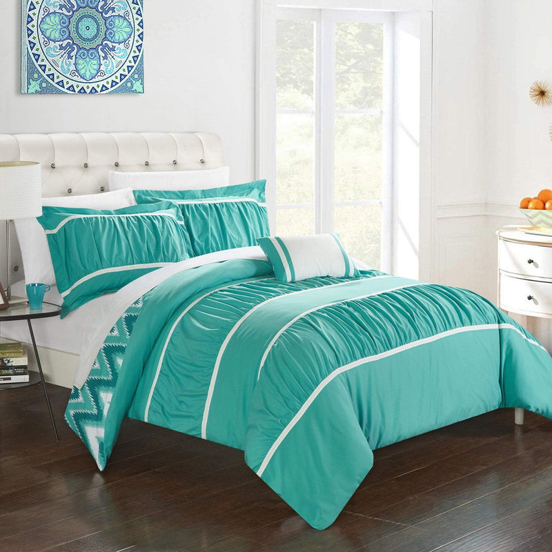 Chic Home Bella 8 Piece Reversible Comforter Set Ruffled Pleated Chevron Pattern Bed in a Bag-Turquoise