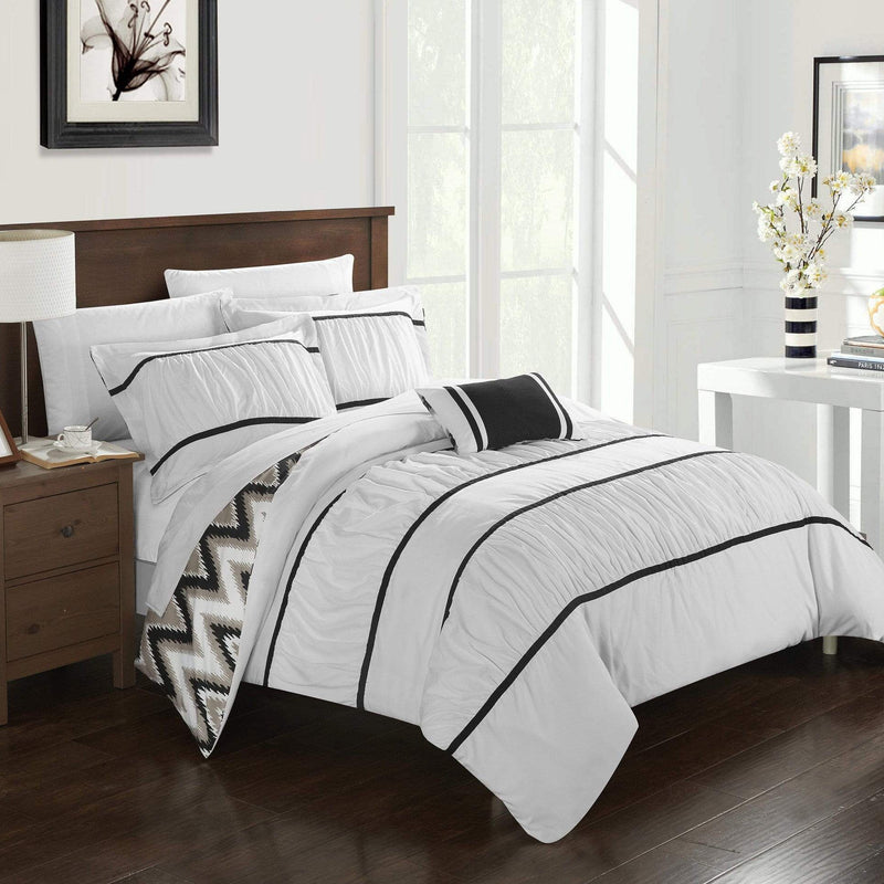 Chic Home Bella 8 Piece Reversible Comforter Set Ruffled Pleated Chevron Pattern Bed in a Bag-White