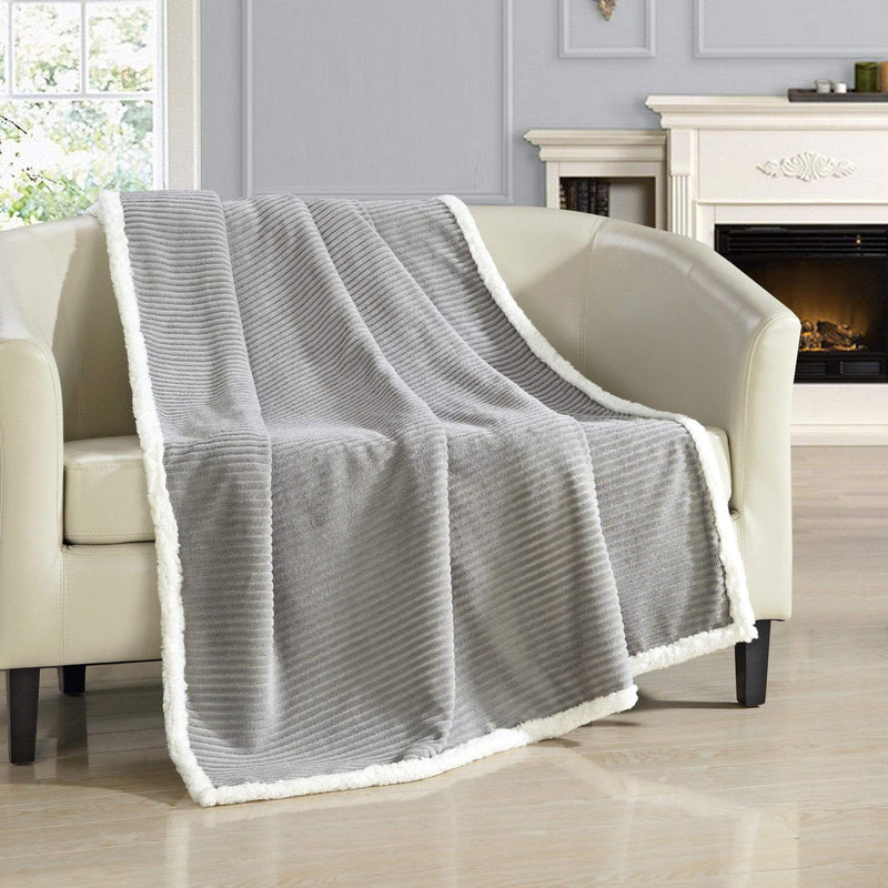 Chic Home Bern Throw Blanket Micro Mink Sherpa Lined Ribbed Textured Grey-Grey-TB5294-CHB