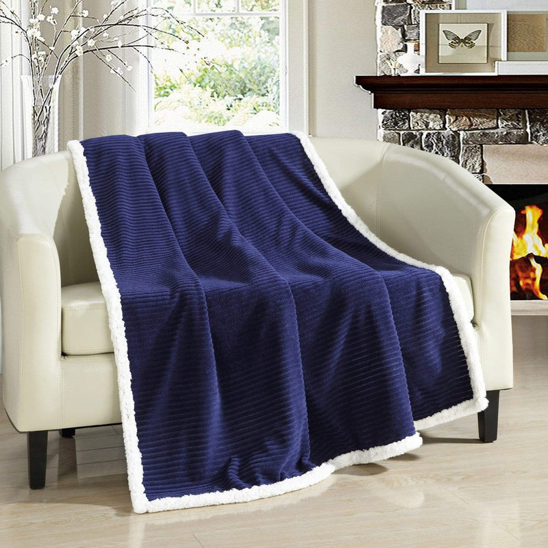 Chic Home Bern Throw Blanket Micro Mink Sherpa Lined Ribbed Textured Navy-Navy-TB5290-CHB