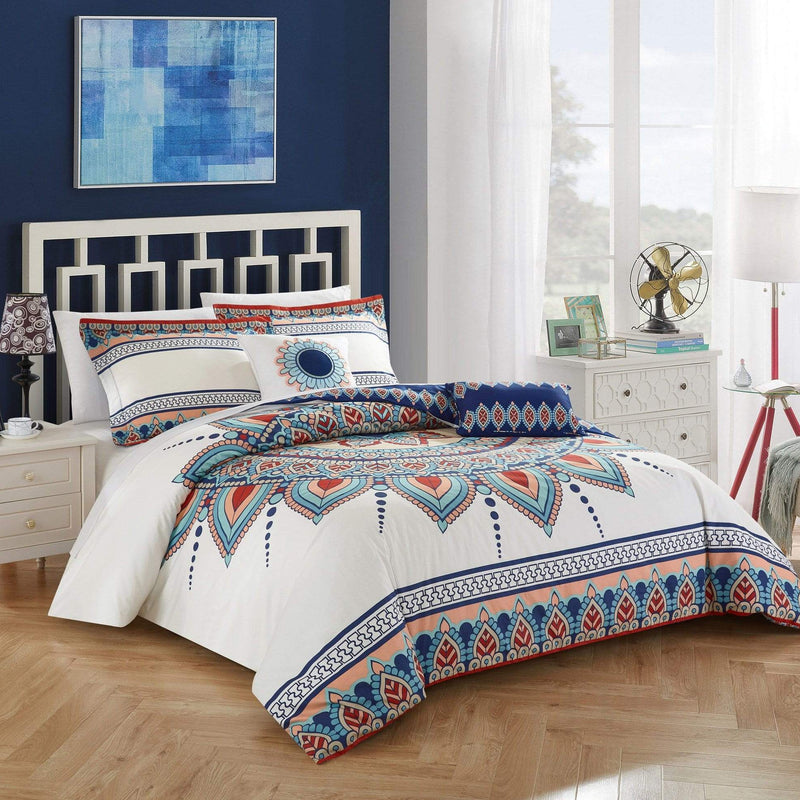 Chic Home Bethany 5 Piece Reversible 100% Cotton Comforter Set Bohemian Print Bedding Blue