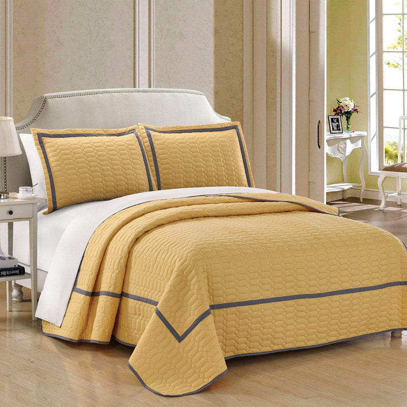 Chic Home Birmingham 3 Piece Quilt Cover Set Two Tone Banded Hotel Collection Bedding-