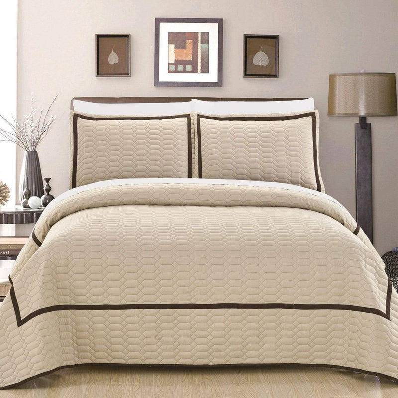 Chic Home Birmingham Ellery Halrowe Marla Selby Tamara 3 Piece Quilt Cover Set Two Tone Banded Hotel Collection Bedding Beige