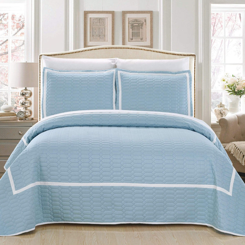 Chic Home Birmingham Ellery Halrowe Marla Selby Tamara 3 Piece Quilt Cover Set Two Tone Banded Hotel Collection Bedding Blue