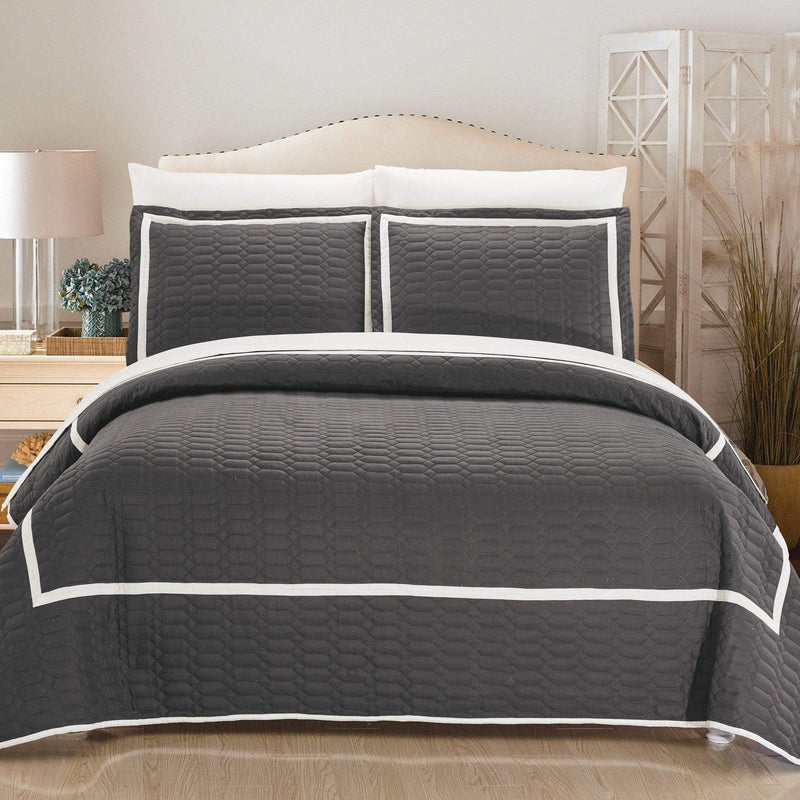 Chic Home Birmingham Ellery Halrowe Marla Selby Tamara 3 Piece Quilt Cover Set Two Tone Banded Hotel Collection Bedding Grey