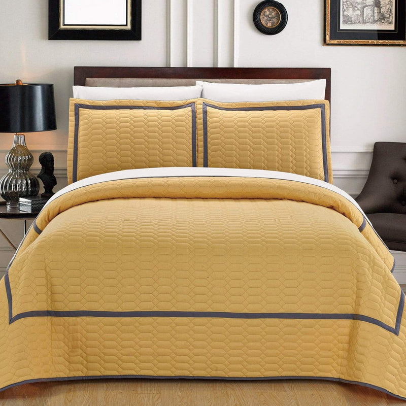 Chic Home Birmingham Ellery Halrowe Marla Selby Tamara 3 Piece Quilt Cover Set Two Tone Banded Hotel Collection Bedding Yellow