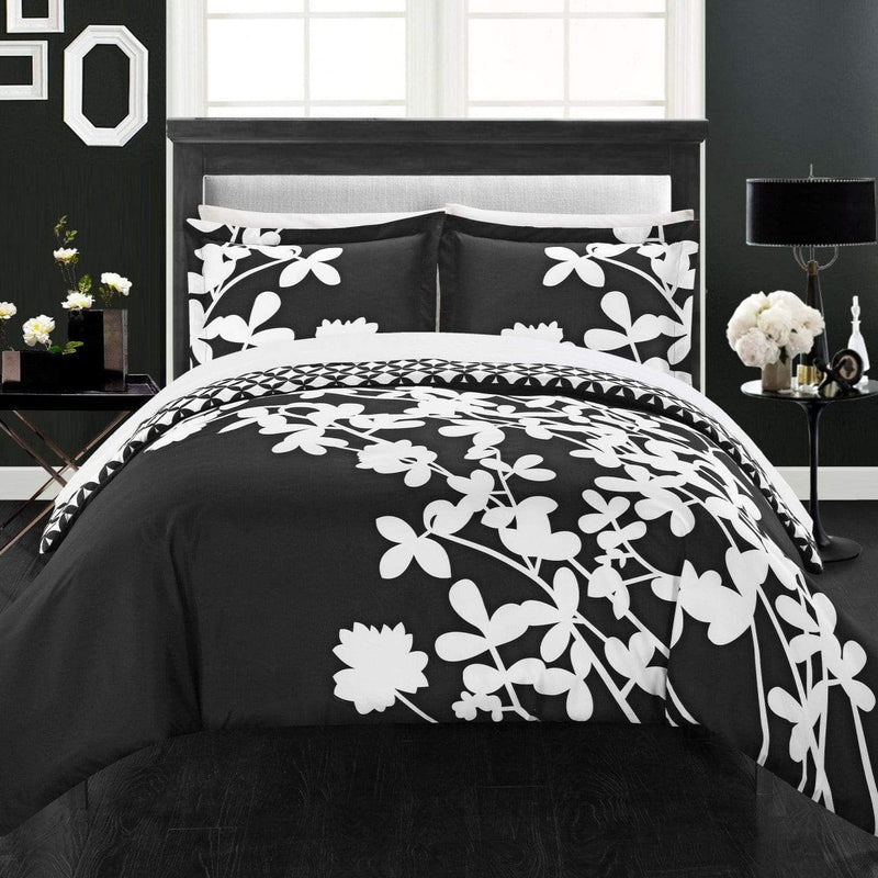 Chic Home Calla Lily 3 Piece Reversible Duvet Cover Set Floral Print Diamond Print Bedding-Black