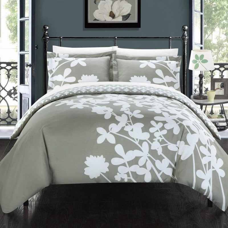 Chic Home Calla Lily 3 Piece Reversible Duvet Cover Set Floral Print Diamond Print Bedding-Grey