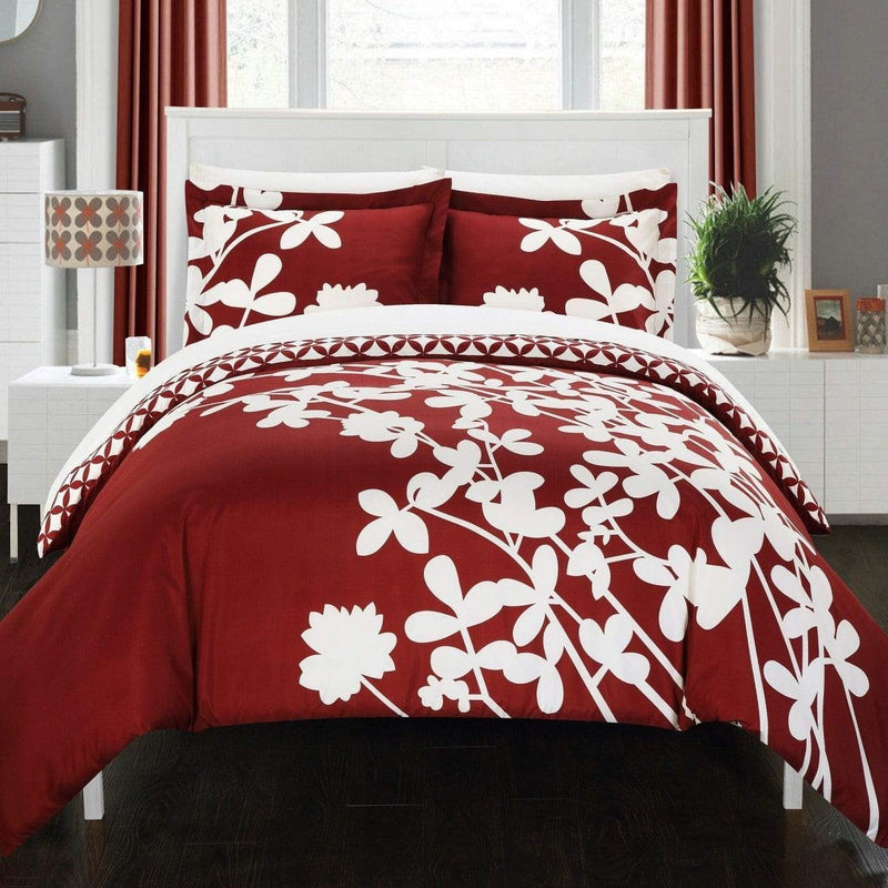 Chic Home Calla Lily 3 Piece Reversible Duvet Cover Set Floral Print Diamond Print Bedding-Red