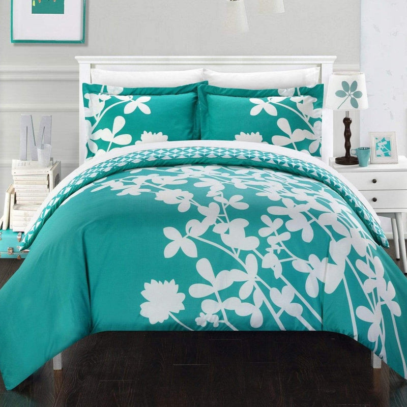 Chic Home Calla Lily 3 Piece Reversible Duvet Cover Set Floral Print Diamond Print Bedding-Turquoise