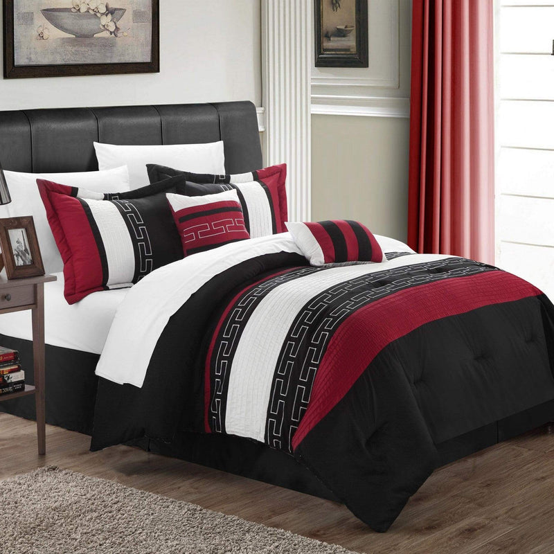 Chic Home Carlton 10 Piece Striped Comforter Set Embroidered Color Block Pattern Bed in a Bag-Black