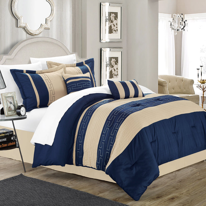 Chic Home Carlton 10 Piece Striped Comforter Set Embroidered Color Block Pattern Bed in a Bag-Blue