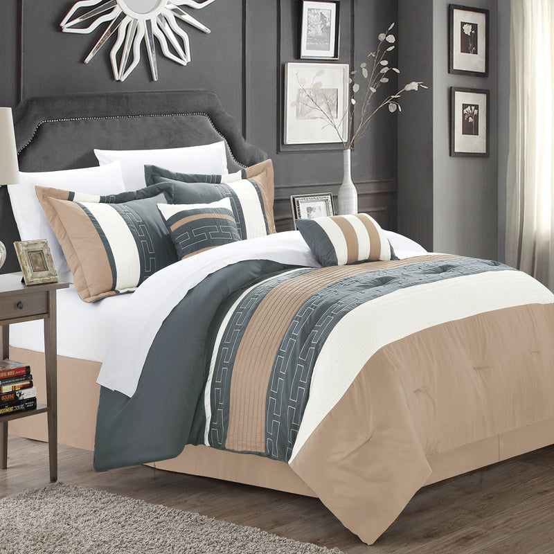 Chic Home Carlton 10 Piece Striped Comforter Set Embroidered Color Block Pattern Bed in a Bag-Taupe