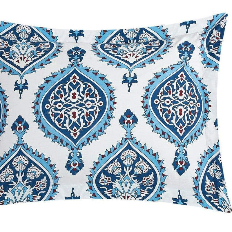 Chic Home Cedar 4 Piece 100% Cotton Reversible Duvet Cover Set Reversible Bohemian Inspired Print Bedding Blue