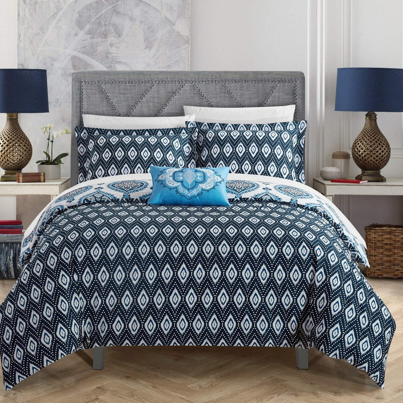 Chic Home Cedar 8 Piece 100% Cotton Reversible Duvet Cover Set Reversible Bohemian Inspired Print Bed In A Bag