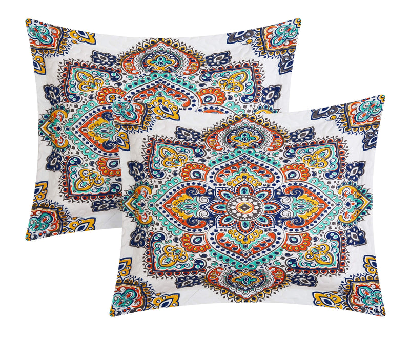 Chic Home Chagit 4 Piece Quilt Cover Set Reversible Paisley Print Geometric Pattern Bedding Aqua