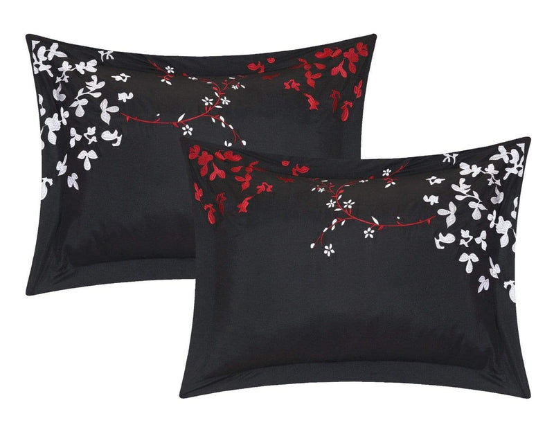 Chic Home Cheila 12 Piece Leaf Embroidered Comforter Set Floral Design Bed in a Bag-