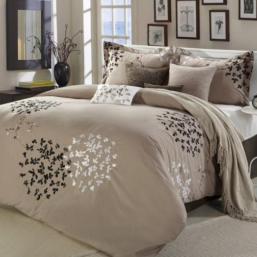 Chic Home Cheila 12 Piece Leaf Embroidered Comforter Set Floral Design Bed in a Bag-Beige