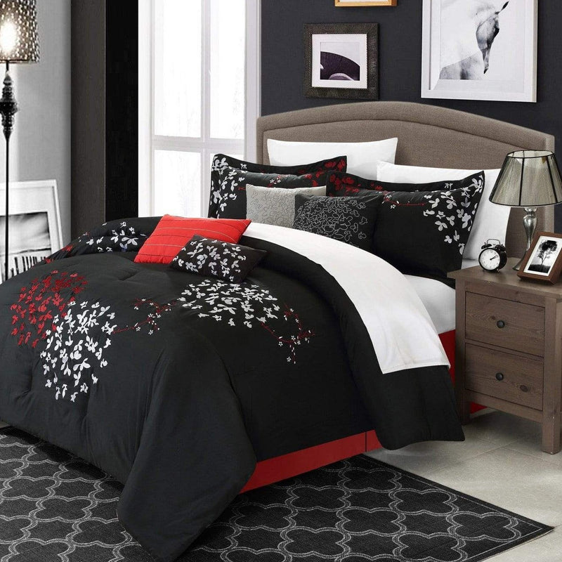 Chic Home Cheila 12 Piece Leaf Embroidered Comforter Set Floral Design Bed in a Bag-Black