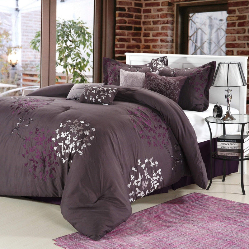 Chic Home Cheila 12 Piece Leaf Embroidered Comforter Set Floral Design Bed in a Bag-Purple