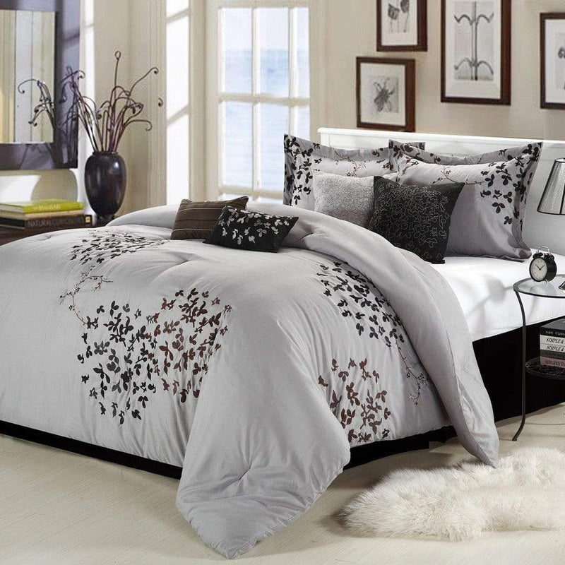 Chic Home Cheila 12 Piece Leaf Embroidered Comforter Set Floral Design Bed in a Bag-Silver