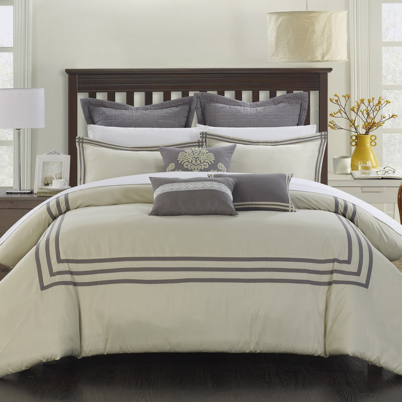 Chic Home Cosmo 8 Piece Comforter Set Contemporary Hotel Collection Bedding-Silver-Beige