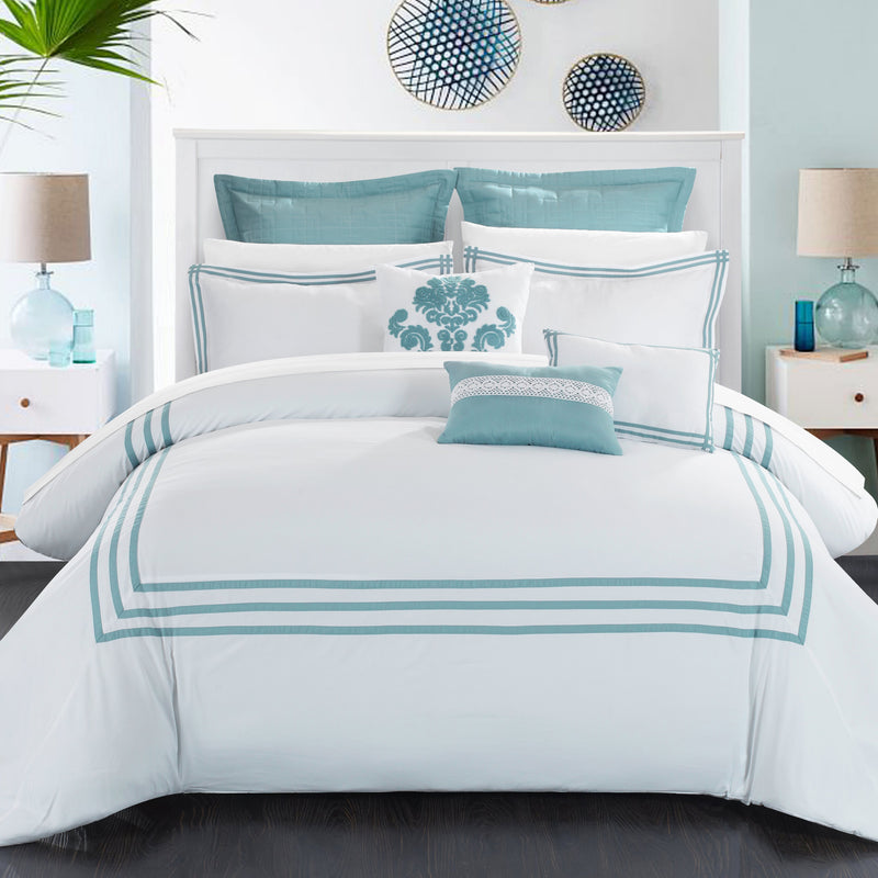 Chic Home Cosmo 8 Piece Comforter Set Contemporary Hotel Collection Bedding-White-Sage