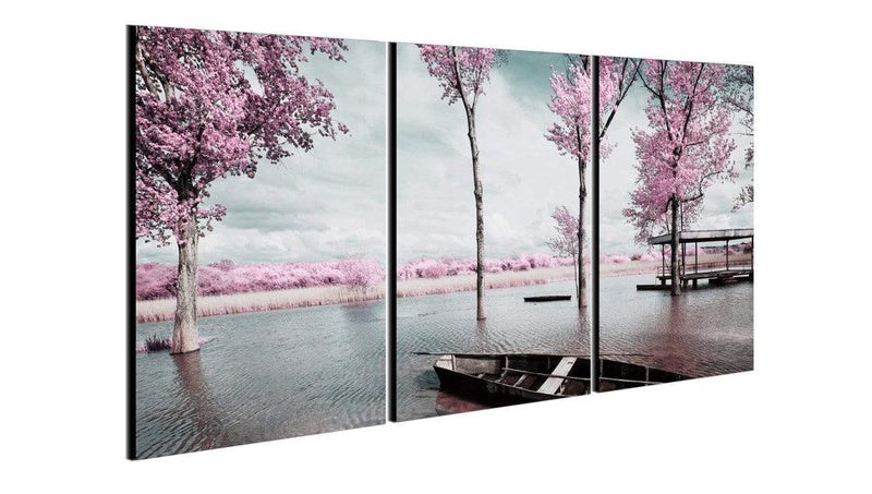 Chic Home Decor Blossom 3 Piece Set Wrapped Canvas Wall Art Giclee Print Lakeside Cherry Blossoms-