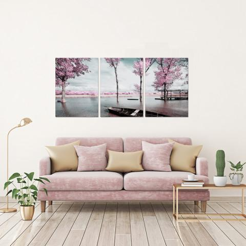 Chic Home Decor Blossom 3 Piece Set Wrapped Canvas Wall Art Giclee Print Lakeside Cherry Blossoms-HDP9301-CHB