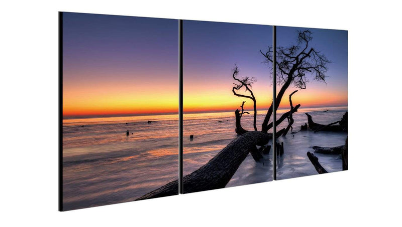 Chic Home Decor Hawaii Sunset 3 Piece Set Wrapped Canvas Wall Art Set Giclee Print Sunset on Beach-