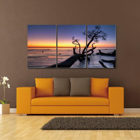 Chic Home Decor Hawaii Sunset 3 Piece Set Wrapped Canvas Wall Art Set Giclee Print Sunset on Beach-HDP9317-CHB