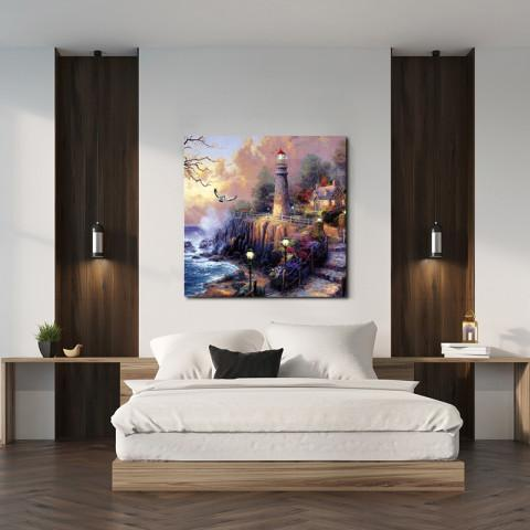 Chic Home Decor Light House 1 Piece Wrapped Canvas Wall Art Giclee Print Lighthouse by the Sea-HDP9324-CHB