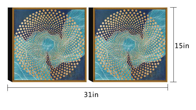 Chic Home Decor Veneta 2 Piece Set Framed Wrapped Canvas Wall Art Giclee Print Abstract Design-