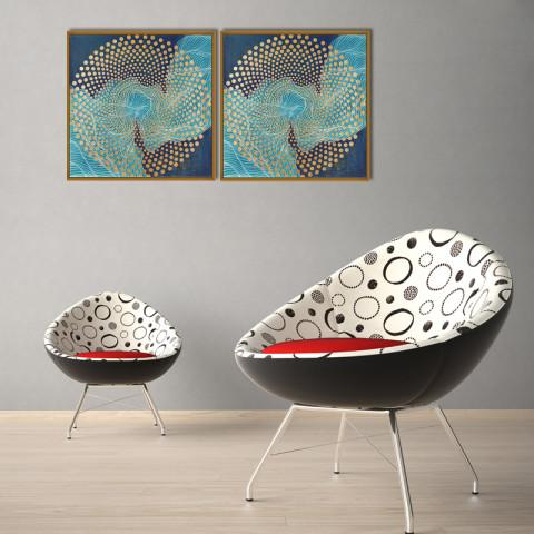 Chic Home Decor Veneta 2 Piece Set Framed Wrapped Canvas Wall Art Giclee Print Abstract Design-HDP9345-CHB