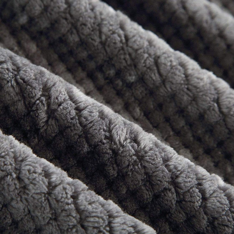 Chic Home Dijon Faux Fur Micromink Waffle Textured Throw Blanket Grey-Grey-TB5304-CHB