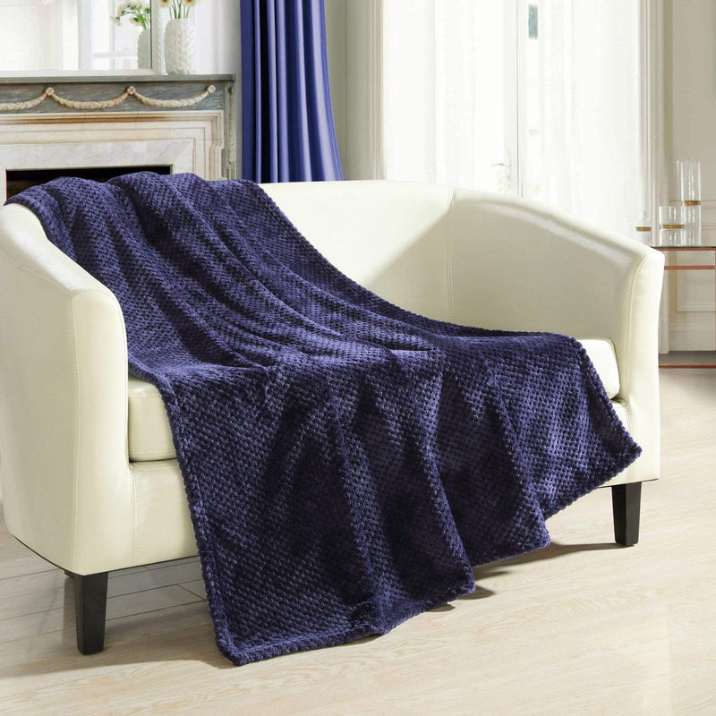 Chic Home Dijon Faux Fur Micromink Waffle Textured Throw Blanket Navy-Navy-TB5302-CHB