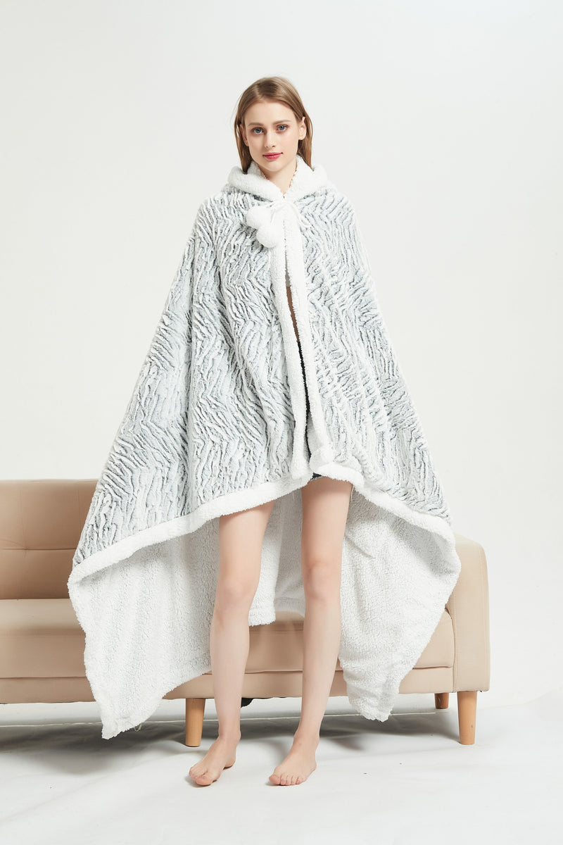 Chic Home Dohwa Snuggle Hoodie Animal Pattern Robe Plush Micromink Sherpa Wearable Blanket