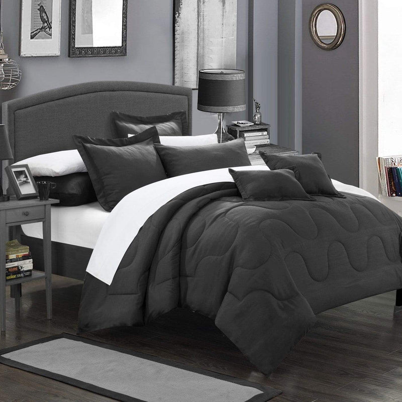 Chic Home Donna 7 Piece Comforter Set Basics Solid Color Bedding-Black