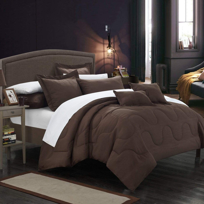 Chic Home Donna 7 Piece Comforter Set Basics Solid Color Bedding-Brown
