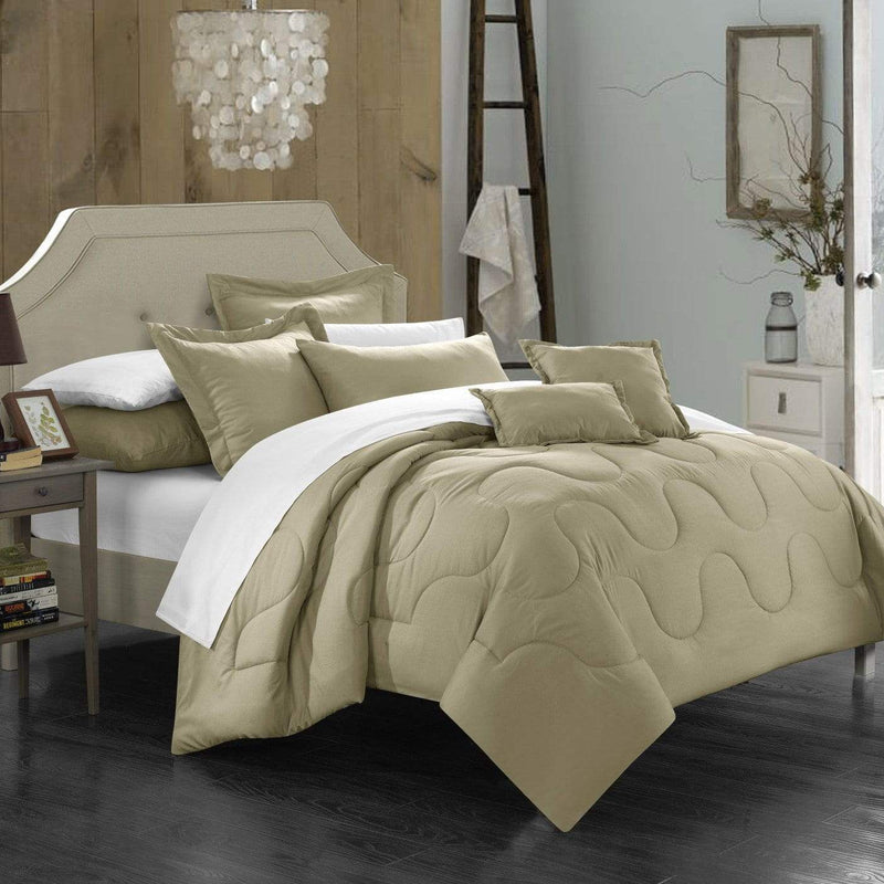 Chic Home Donna 7 Piece Comforter Set Basics Solid Color Bedding-Taupe